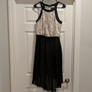 Chiffon black midi dress high neck